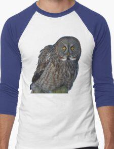 Great Gray Owl Portrait II Men's Baseball ¾ T-Shirt