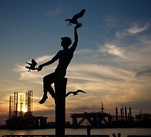 Boy with seagulls statue - Pier 21 Galveston, TX by Ann Reece