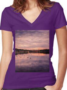 Sun  dusk, Boston MA Women's Fitted V-Neck T-Shirt