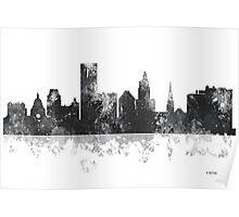 Providence, Rhode Island Skyline - B&W Poster