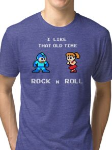 Old Time Rock and Roll - Megaman 8bit Classic Tri-blend T-Shirt