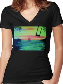 THE SUNSET SWING Women's Fitted V-Neck T-Shirt