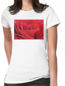 Red Rose Up Close Womens Fitted T-Shirt