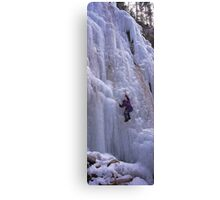 Maligne Fall Ice Climber Canvas Print