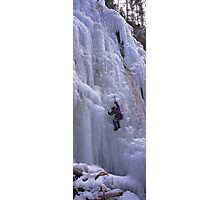 Maligne Fall Ice Climber Photographic Print