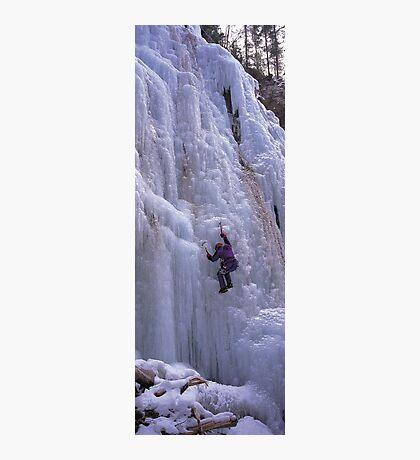 Maligne Fall Ice Climber Photographic Print
