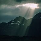 Mountains On way from Svolvaer Norway to Bodo Norway 198406200061 by Fred Mitchell