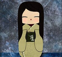 Orchid Kokeshi Doll, Japanese Wall Art by soniei
