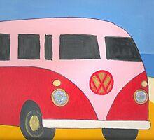 Pink&Red  VW Kombi (21 window)  by RootRock