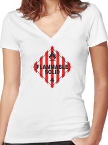Flammable Solid Women's Fitted V-Neck T-Shirt