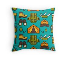 Camping Pattern Throw Pillow