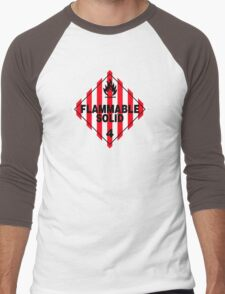 Flammable Solid Black Men's Baseball ¾ T-Shirt