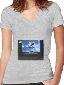 16-bit vaporwave Women's Fitted V-Neck T-Shirt