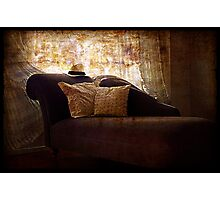 Grunge Chaise with Hat. Photographic Print
