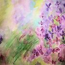 Lilas in the Garden-Watercolor painting by Esperanza Gallego