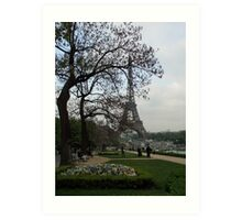 Pansies and the Eiffel Tower Art Print
