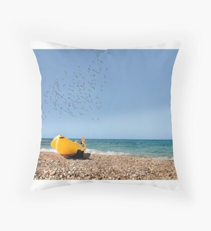 Boat on coast  Throw Pillow