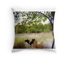 In the calm water. Throw Pillow