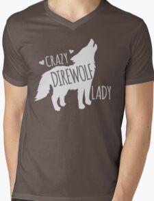 CRAZY Direwolf lady Mens V-Neck T-Shirt