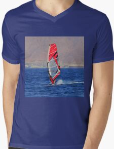 Windsurfing in a red sea Mens V-Neck T-Shirt