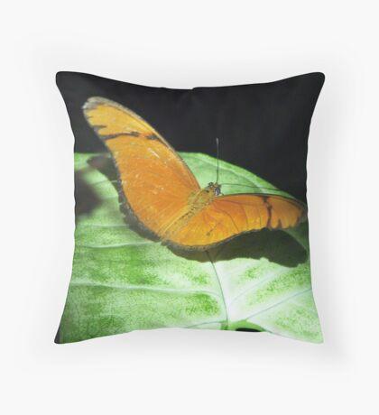 an orange butterfly Throw Pillow