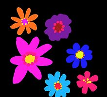Retro Solid Flowers-Cooltones by NeonOf1986
