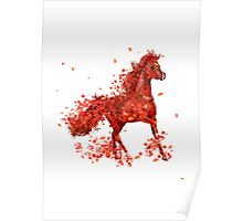 Red horse ( horse and flowers ) Poster