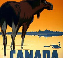 Canada Moose Vintage Travel Poster Restored by Carsten Reisinger