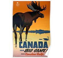 Canada Moose Vintage Travel Poster Restored Poster