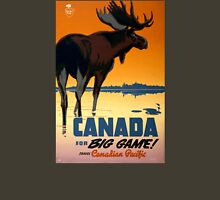 Canada Moose Vintage Travel Poster Restored Unisex T-Shirt