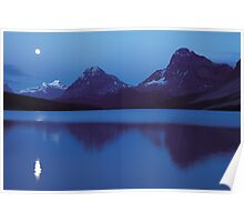Moon over Bow lake Poster