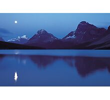 Moon over Bow lake Photographic Print