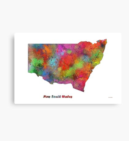 New South Wales State Map Canvas Print