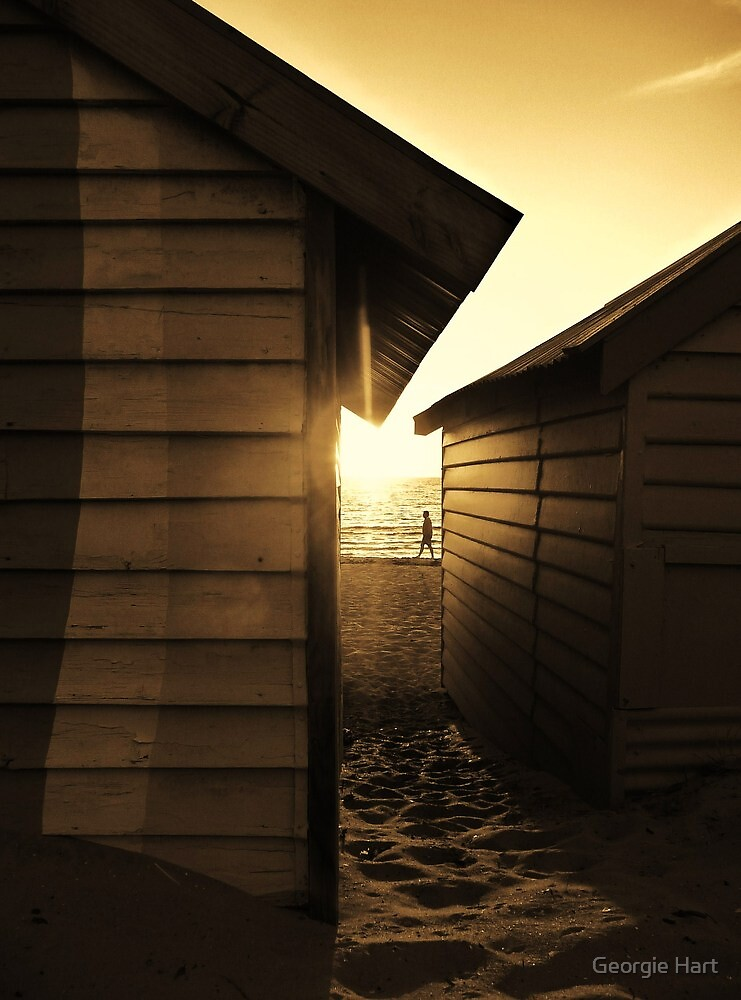 Between Bathing Boxes, Brighton by Georgie Hart