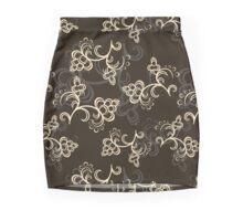 Gray Flower Pattern Mini Skirt