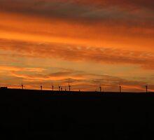 Sunset over windfarm - Ogden, Halifax, UK by Andy Beattie