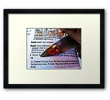 Hate........ an OED definition Framed Print