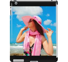 Portrait with a pink hat iPad Case/Skin