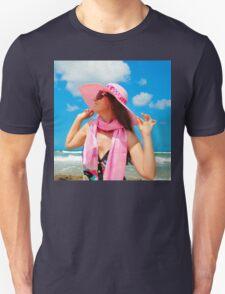 Portrait with a pink hat Unisex T-Shirt