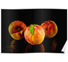 Three peaches on a wet table Poster