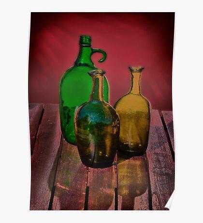 Three green bottles Poster