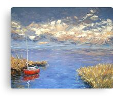 Lonely red boat Canvas Print