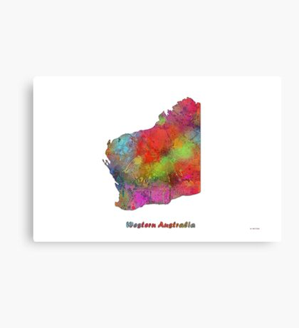 Western Australia State Map Canvas Print
