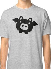 Flying Pig Black B&W Classic T-Shirt