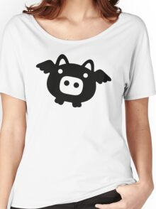 Flying Pig Black B&W Women's Relaxed Fit T-Shirt