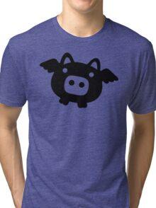 Flying Pig Black B&W Tri-blend T-Shirt