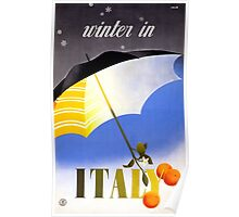 Winter in Italy Vintage Travel Poster Restored Poster