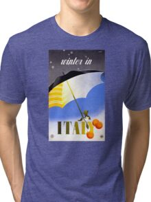 Winter in Italy Vintage Travel Poster Restored Tri-blend T-Shirt