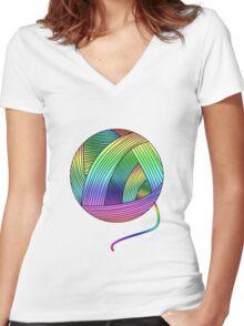 Rainbow Yarn Ball! Women's Fitted V-Neck T-Shirt