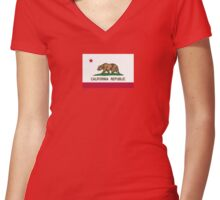 California USA State Flag Bedspread Duvet T-Shirt - Californian Sticker Women's Fitted V-Neck T-Shirt